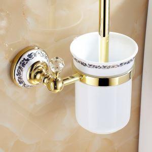 トイレブラシホルダー トイレ用品 トイレブラシ&ポット付き 真鍮製 Ti-PVD 金色