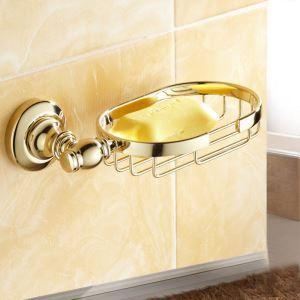 浴室ソープディッシュホルダー 石鹸ホルダー バスアクセサリー 金色 真鍮製 Ti-PVD