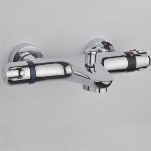 壁付サーモスタット混合栓 浴室シャワー混合栓 バス水栓 浴槽用蛇口 クロム(ハンドシャワー無し)