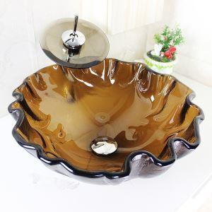 洗面ボウル&蛇口セット 手洗い鉢 洗面器 強化ガラス製 排水金具付 オシャレ 茶色 SFSV18
