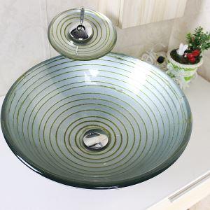 洗面ボウル&蛇口セット 手洗い鉢 洗面器 強化ガラス製 排水金具付 オシャレ SFSV20