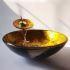 洗面ボウル&蛇口セット 手洗い鉢 洗面器 強化ガラス製 排水金具付 オシャレ おしゃれ SFS002