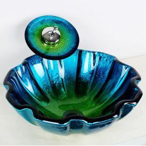洗面ボウル&蛇口セット 手洗い鉢 洗面器 強化ガラス製 排水金具付 ブルー 花型 SFS009