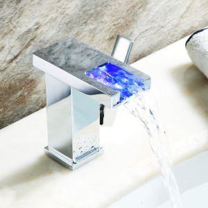 LEDバス蛇口 洗面蛇口 冷熱混合栓 温度センサー付 真鍮 3色 クロム