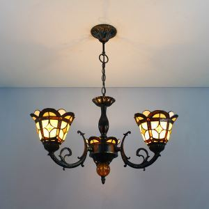 シャンデリア ステンドグラスランプ リビング照明 ダイニング照明 A 3灯