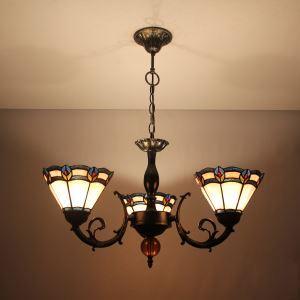 シャンデリア ステンドグラスランプ ティファニーライト リビング照明 ダイニング照明 花柄E 3灯