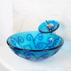 洗面ボウル&蛇口セット 手洗い鉢 洗面器 強化ガラス製 排水金具付 オシャレ VT4247