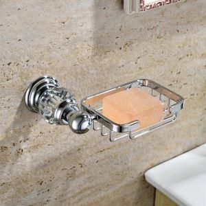 浴室ソープディッシュホルダー 石鹸ホルダー 真鍮&クリスタル クロム