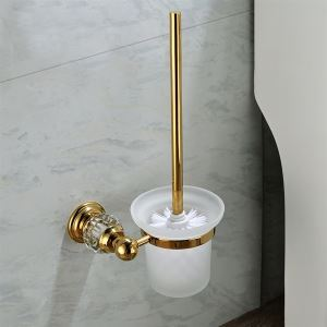 トイレブラシホルダー トイレ用品 トイレブラシ&ポット付き 真鍮&クリスタル Ti-PVD