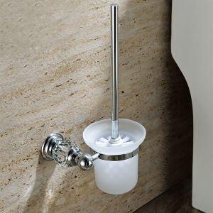 トイレブラシホルダー トイレ用品 トイレブラシ&ポット付き 真鍮&クリスタル クロム