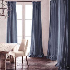 遮光カーテン 北欧カーテン オーダーカーテン インクブルー 無地柄 麻&綿 3級遮光カーテン(1枚) GT032