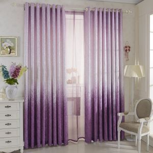 遮光カーテン オーダーカーテン 北欧カーテン ジャガード 紫色 無地柄 麻&綿(1枚) GT094