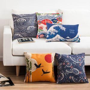 クッションカバー 抱き枕カバー 枕カバー 和風 リネン 山&波柄 6点
