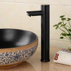 センサー水栓 自動水栓 洗面蛇口 単水栓 水道蛇口 真鍮製 黒色