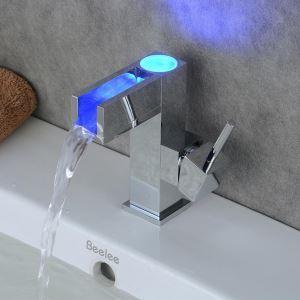 LED洗面蛇口 バス水栓 冷熱混合栓 水道蛇口 温度センサー付 3色 クロム