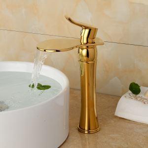 洗面蛇口 バス水栓 水道蛇口 冷熱混合水栓 金色 TI-PVD