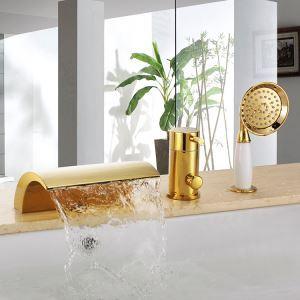 浴槽水栓 バス水栓 シャワー混合水栓 ハンドシャワー付 水道蛇口 滝状吐水口 金色