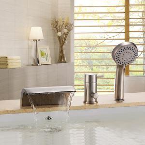 浴槽水栓 バス水栓 シャワー混合水栓 ハンドシャワー付 水道蛇口 滝状吐水口 ヘアライン