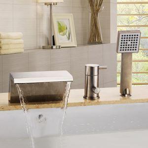 浴槽水栓 バス水栓 シャワー混合水栓 ハンドシャワー付 水道蛇口 滝状吐水口 ヘアライン HY795