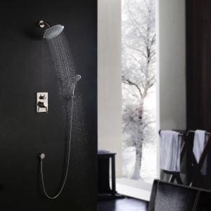 埋込形シャワー水栓 レインシャワーシステム バス蛇口 ヘッドシャワー+ハンドシャワー ヘアライン