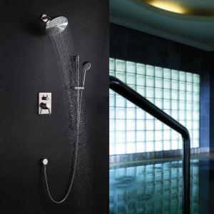 埋込形シャワー水栓 レインシャワーシステム バス蛇口 ヘッドシャワー+ハンドシャワー シャワーバー ヘアライン
