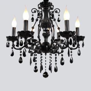 シャンデリア クリスタル リビング照明 ダイニング照明 寝室照明 店舗照明 黒色 6灯 LED電球対応