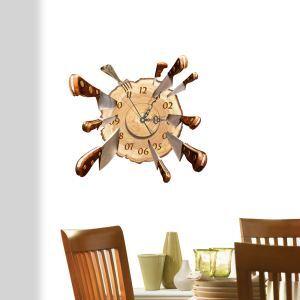 3D壁掛け時計 3Dデコレ壁掛け時計 DIYデコレ時計 静音時計 ナイフ柄