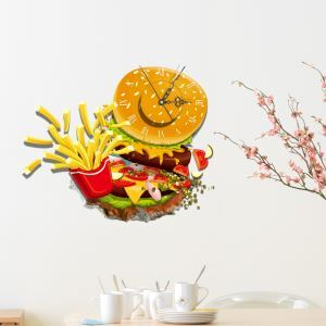 3D壁掛け時計 3Dデコレ壁掛け時計 DIYデコレ時計 静音時計 美食柄