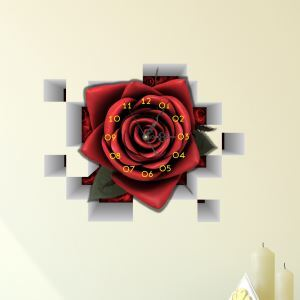 3D壁掛け時計 3Dデコレ壁掛け時計 DIYデコレ時計 静音時計 ローズ柄