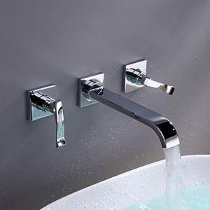 壁付水栓 洗面蛇口 バス水栓 冷熱混合栓 水道蛇口 2ハンドル 真鍮製 クロム