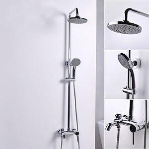 浴室シャワー水栓 レインシャワーシステム バス混合栓 ヘッドシャワー+ハンドシャワー+蛇口 クロム