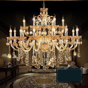 シャンデリア リビング照明 照明器具 吹き抜け照明 ダイニング 寝室 店舗 クリスタル オシャレ 豪華 18灯 LED電球対応 LT463