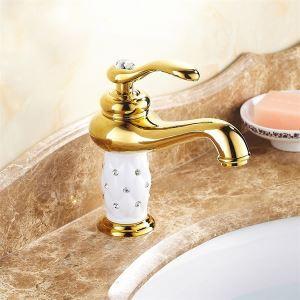 洗面蛇口 バス水栓 水道蛇口 冷熱混合水栓 真鍮製 Ti-PVD