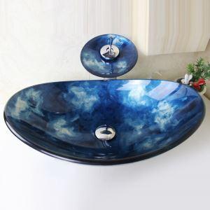 洗面ボウル&蛇口セット 手洗い鉢 洗面器 強化ガラス製 排水金具付 オシャレ 青空&白雲柄 SFS647