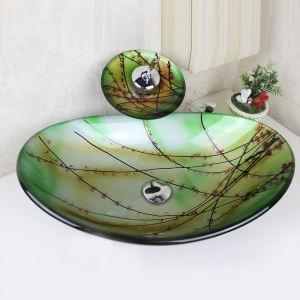 洗面ボウル&蛇口セット 手洗い鉢 洗面器 強化ガラス製 排水金具付 オシャレ 梅花柄 楕円型 SFS649