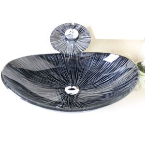 洗面ボウル&蛇口セット 手洗い鉢 洗面器 強化ガラス製 排水金具付 オシャレ 楕円型 SFS665