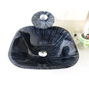 洗面ボウル&蛇口セット 手洗い鉢 洗面器 強化ガラス製 排水金具付 オシャレ 四角型 SFS666