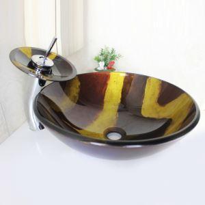 洗面ボウル&蛇口セット 手洗い鉢 洗面器 強化ガラス製 排水金具付 オシャレ 丸型 SFS668