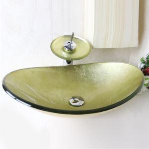 洗面ボウル&蛇口セット 手洗い鉢 洗面器 強化ガラス製 排水金具付 オシャレ 楕円型 SFS675