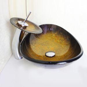 洗面ボウル&蛇口セット 手洗い鉢 洗面器 強化ガラス製 排水金具付 オシャレ 楕円型 SFS692