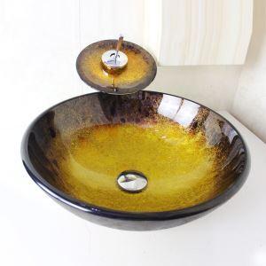 洗面ボウル&蛇口セット 手洗い鉢 洗面器 強化ガラス製 排水金具付 オシャレ 丸型 SFS693