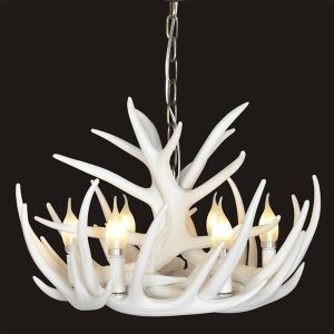 シャンデリア ペンダントライト リビング照明 照明器具 鹿角照明 店舗 寝室 樹脂製 6灯 白色 北欧風 LED対応