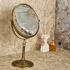 室内用ミラー 卓上化粧鏡 浴室収納 拡大鏡付き スイング可能 バスアクセサリー ブラス色 YWA047
