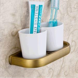 歯ブラシホルダー 歯ブラシスタンド カップ付き 収納 真鍮製 アンティーク調