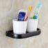 歯ブラシホルダー 歯ブラシスタンド カップ付き 収納 真鍮製 ORB