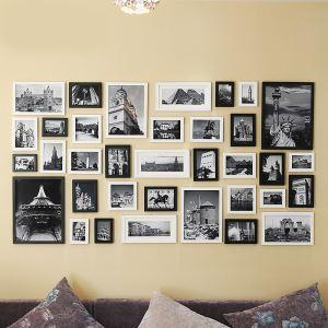 壁掛けフォトフレーム 写真用額縁 フォトデコレーション 木製 35個セット 複数枚